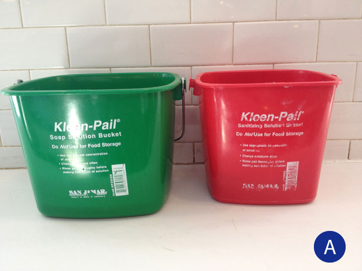 labeled sanitizer buckets